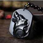 Spirit Vessel-Hand Carved Obsidian Wolf Pendant w/ Necklace