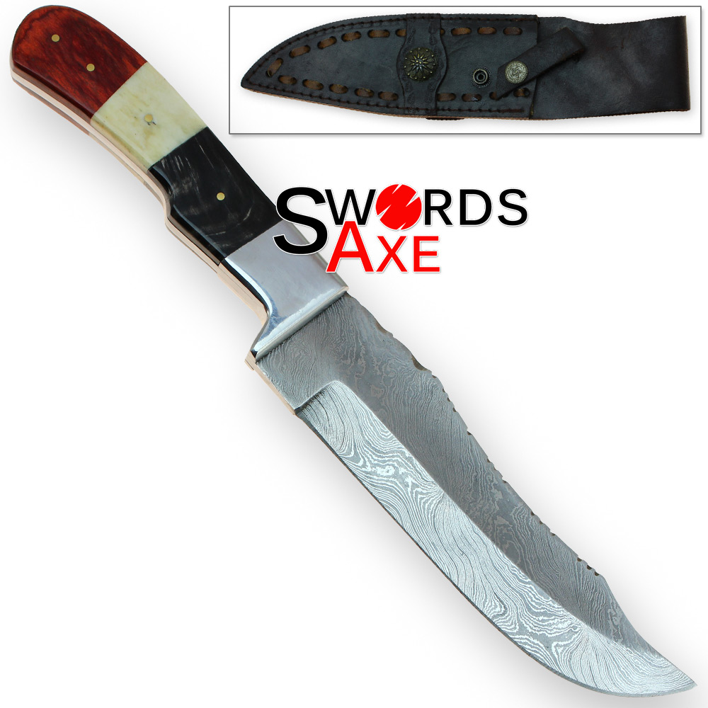 Full Tang Tri-Color Damascus Hand Forged Bowie Knife