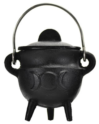 Triple Moon cauldron w/ Lid 2 3/4""
