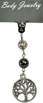 Hematite Tree of Life belly ring