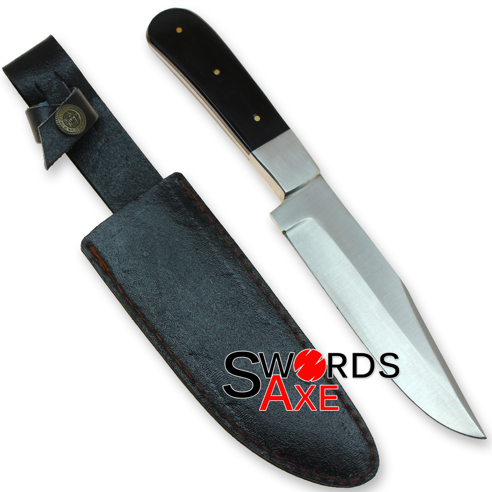 Plain Classic Stainless Steel Knife - Buffalo Horn Handle - Rostfrei
