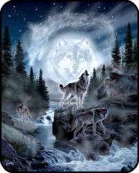 79'' x 96'' Queen Size Wolf And Moon Mink Blanket